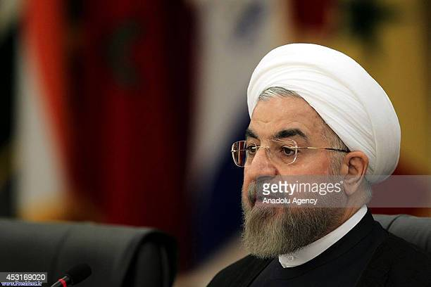 Iranian President Hassan Rouhani speaks during a meeting about Palestinians in Gaza on August 4 in Tehran, Iran. Non-Aligned Movement members and...