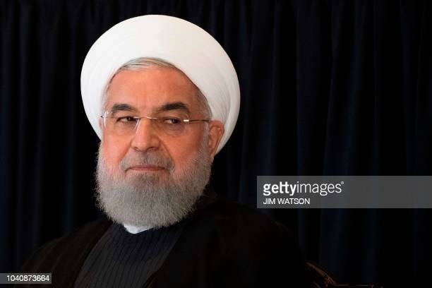Iranian President Hassan Rouhani speaks during a press conference in New York on September 26on the sidelines of the United Nations General Assembly
