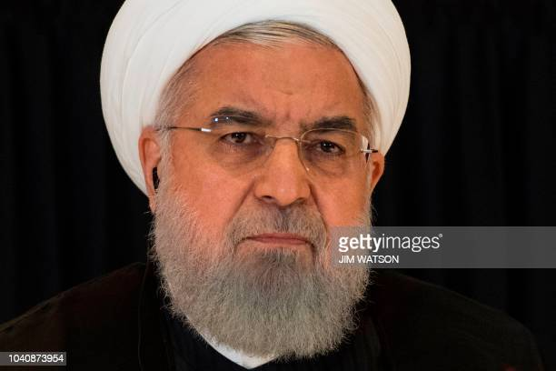 Iranian President Hassan Rouhani speaks during a press conference in New York on September 26on the sidelines of the United Nations General Assembly...
