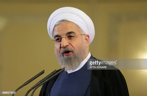 Iranian President Hassan Rouhani speaks during a press conference in Tehran on April 3 2015 Iran vowed to stand by a nuclear deal with world powers...