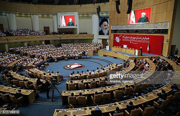 Iranian President Hassan Rouhani speaks during conference entitled 'Compassionate Human Peaceful World' in Tehran Iran on May 09 2015