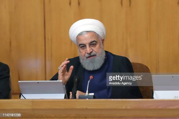 Iranian President Hassan Rouhani speaks during the cabinet meeting in Tehran Iran on May 08 2019