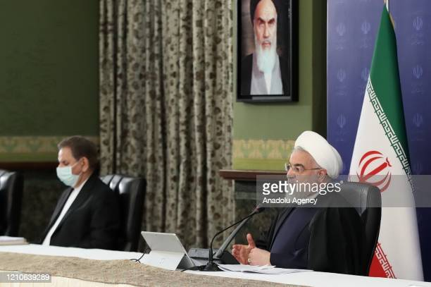 Iranian President Hassan Rouhani speaks on the fall in oil prices due to the coronavirus pandemic during a cabinet meeting in Tehran, Iran on April...