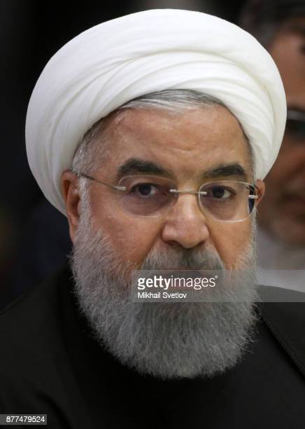 Iranian President Hassan Rouhani speeches during talks at Black Sea resort residence on November 22 2017 in Sochi Russia Presidents of Russia Turkey...