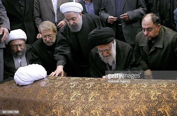 Iranian President Hassan Rouhani Supreme Leader of Iran Ali Khamenei Chairman of Iranian Parliament Ali Larijani and Iranian Defense Minister Hossein...