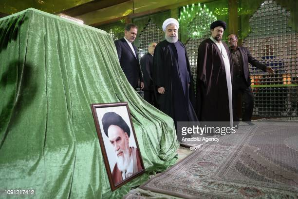 Iranian President Hassan Rouhani visits the Mausoleum of Ruhollah Khomeini, founder of the Islamic Republic of Iran, on the 40th anniversary of the...