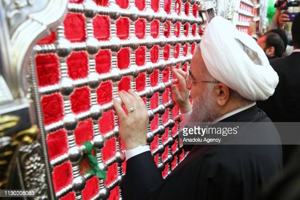 Iranian President Hassan Rouhani visits the Shrine of Imam Ali in Najaf, Iraq on March 12, 2019.