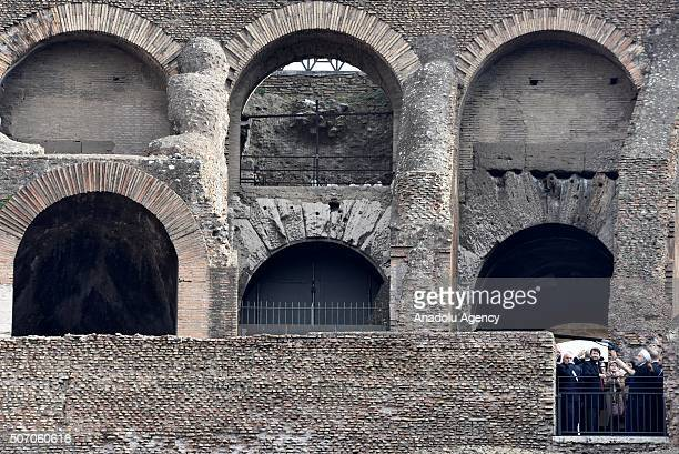 Iranian President Hassan Rouhaniduring his visit at the Rome's Coliseum on January 27, 2016 prior to leave to Paris.