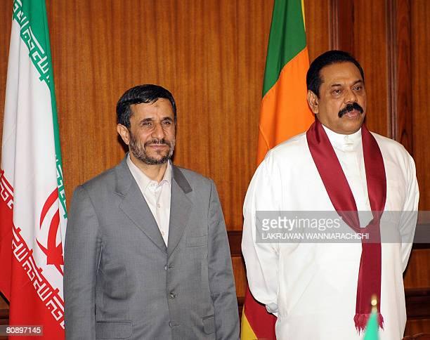 Iranian President Mahmoud Ahmadinejad and Sri Lankan President Mahinda Rajapaksa pose for photographers in Colombo on April 28 2008 Ahmadinejad who...