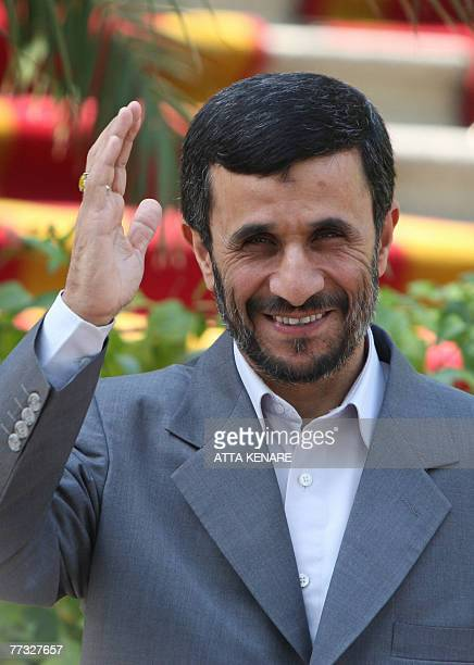 Iranian President Mahmoud Ahmadinejad attends a welcoming ceremony for Kazakh President Noursoultan Nazarbaiev in Tehran 15 October 2007 one day...