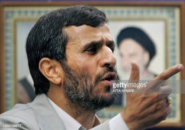 Iranian President Mahmoud Ahmadinejad delivers a speech after attending an antiIsraeli rally marking 'AlQuds Day' to support the Palestinian cause...