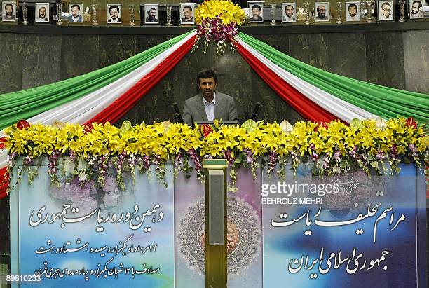 Iranian President Mahmoud Ahmadinejad delivers a speech after taking the oath of office during a swearingin ceremony at the parliament in Tehran on...