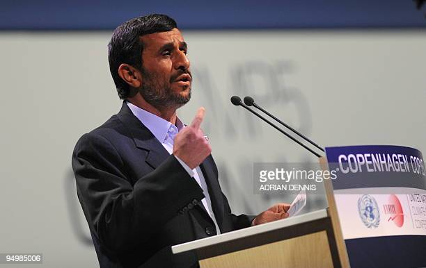 Iranian President Mahmoud Ahmadinejad delivers his speech during the plenary session at the Bella Center in Copenhagen on December 17 2009 on the...