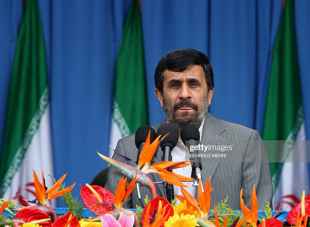 Iranian President Mahmoud Ahmadinejad grimaces while delivering a speech during the Army Day parade in Tehran on April 18, 2010. Ahmadinejad said that Israel, the 'main instigator of conflict' in the Middle East, was on its way to collapse and that regional powers wanted it uprooted.