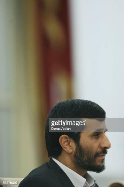 Iranian President Mahmoud Ahmadinejad is seen on May 10 2006 at Merdeka Palace in the capital city Jakarta Indonesia Amid nuclear row Ahmadinejad...