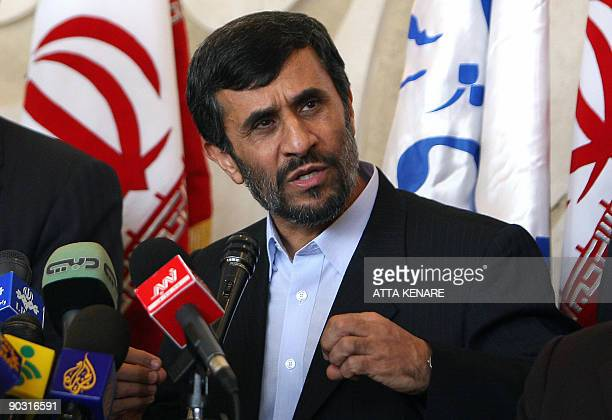 Iranian President Mahmoud Ahmadinejad speaks during a press conference after parliament voted on his new cabinet in Tehran on September 3 2009 Iran's...