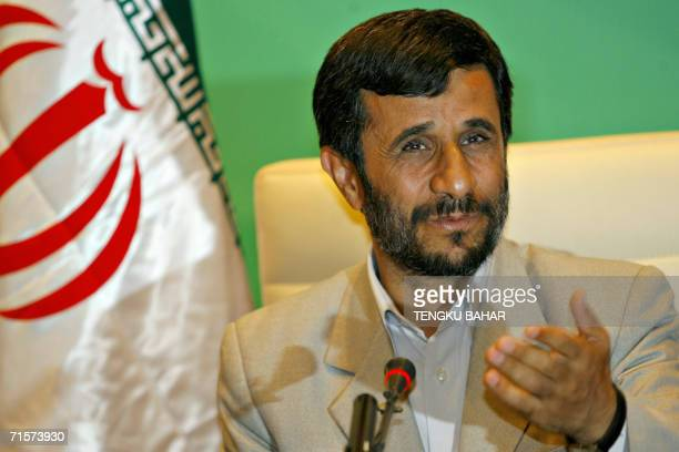 Iranian President Mahmoud Ahmadinejad talks to journalists during a press conference at the conclusion of the Meeting of Friends of the Chair of the...
