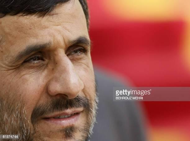 Iranian President Mahmoud Ahmadinejad waits for the arrival of his Comoran counterpart Ahmed Abdallah Mohamed Sambi in Tehran on June 15 2008 Sambi...