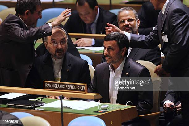 Iranian President Mahmoud Ahmadinejad waits to address the 66th General Assembly Session at the United Nations on September 22 2011 in New York City...