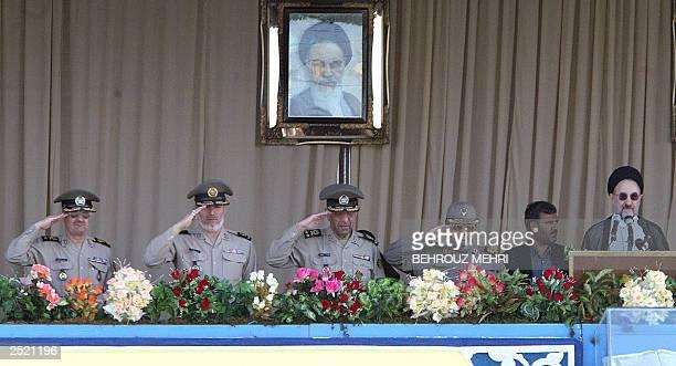 Iranian President Mohammad Khatami and Iranian commanders from left to right, Pourshasb, Ali Shahbazi, Mohammad Salimi, Hassan Firouzabadi and a...