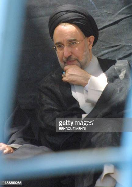Iranian President Mohammad Khatami attends a ceremony held 04 June 2002 at the mausoleum of the founder of the Islamic republic Ayatollah Ruhollah...