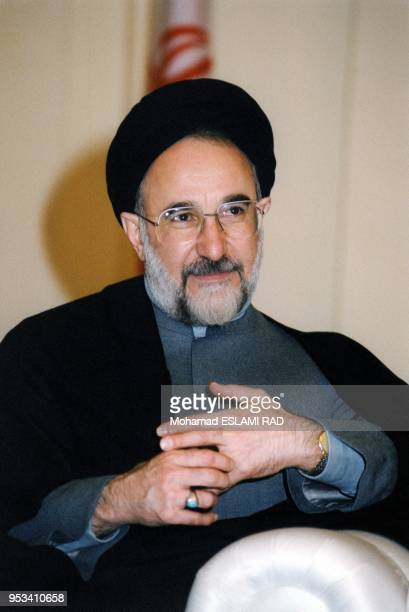 Iranian President Mohammad Khatami during the closing session of the 8th Islamic summit conference, December 1997.