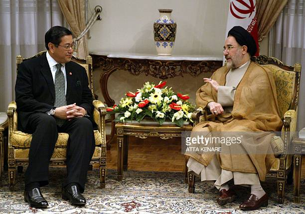 Iranian President Mohammad Khatami meets with Thai Foreign Minister Surakiart Sathirathai 06 September 2004 in Tehran Sathirathai is on a threeday...