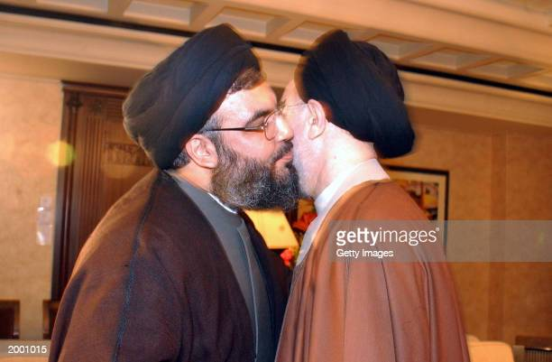 Iranian President Mohammad Khatami meets with the secretary general of the Shiite Muslim Lebanese group Hezbollah Sheikh Hassan Nasrallah May 13 2003...