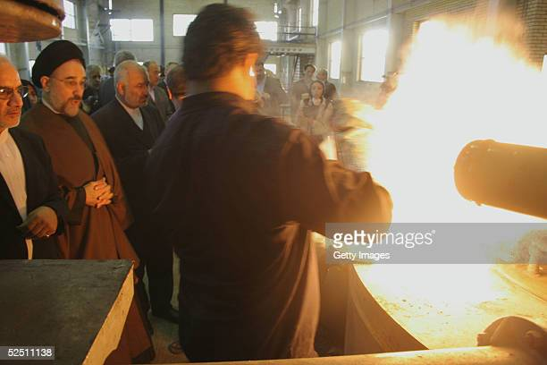 Iranian President Mohammad Khatami watches during a visit to an uranium conversion facility March 30 2005 just outside the city of Isfahan about 254...