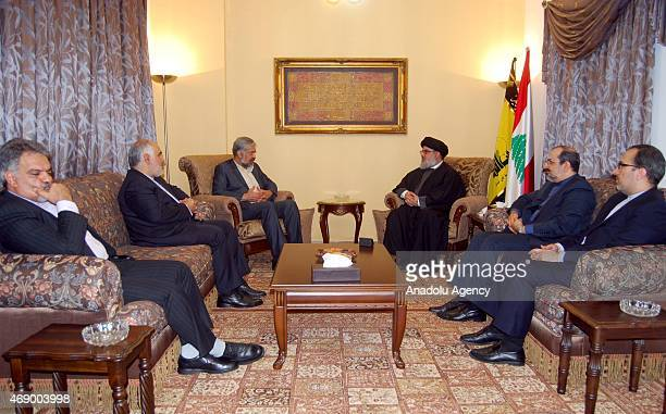 Iranian President's special envoy and deputy foreign minister Morteza Sarmadi meets with Hezbollah leader Hasan Nasrallah in Beirut Lebanon on April...