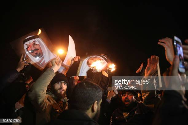 Iranian protesters gather outside the Saudi Embassy in Tehran during a demonstration against the execution of prominent Shiite Muslim cleric Nimr...