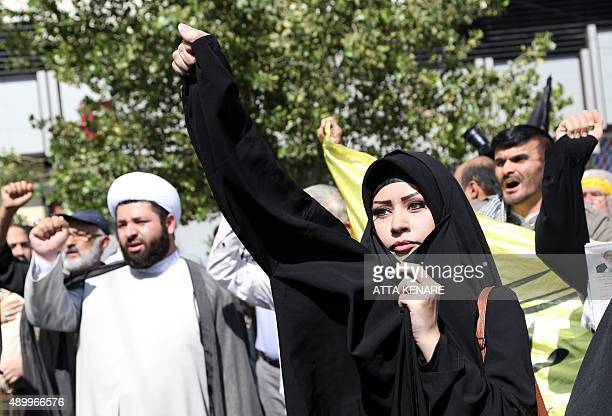 Iranian protestors shout slogans during a demonstration against Saudi Arabia after 131 Iranian pilgrims were killed in a stampede at the annual hajj...