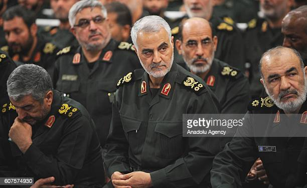 Iranian Quds Force commander Qassem Soleimani attends Iranian supreme leader Ayatollah Ali Khamenei's meeting with the Islamic Revolution Guards...