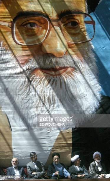 Iranian reformist President Mohammad Khatami , Iran's new elect conservative parliament speaker Gholam-Ali Haddad Adel , former president Akbar...