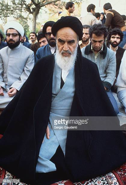 Iranian religious leader Ayatollah Khomeini at his residence in the leafy Paris suburb of Neauphlele Chateau during his exile