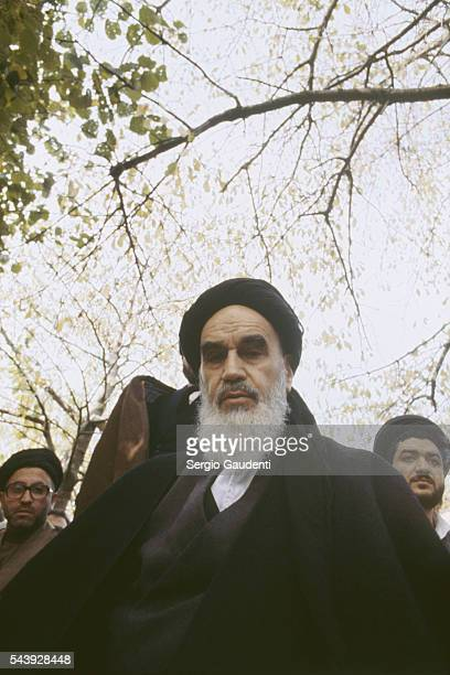 Iranian religious leader Ayatollah Khomeini at his residence in the leafy Paris suburb of NeauphleleChateau during his exile