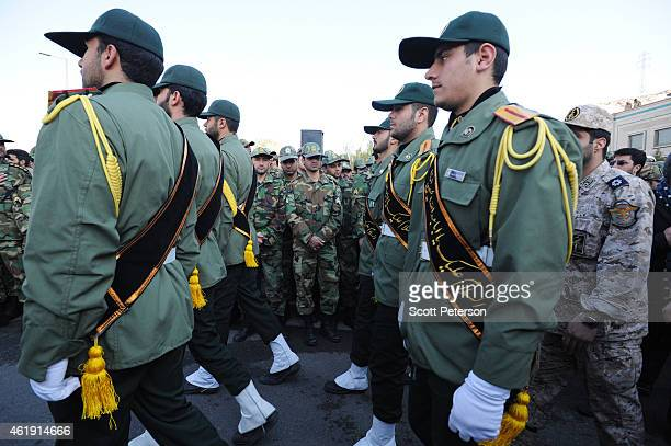 Iranian Revolutionary Guard soldiers attend the funeral of General Mohammad Ali Allahdadi a Guard commander killed in southern Syria by an Israeli...