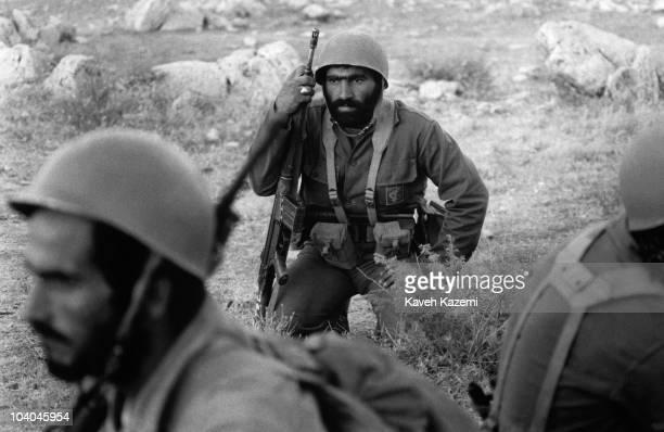 Iranian Revolutionary Guards, armed with G3 automatic assault rifles, on the Iran-Iraq front, near Qasr-e Shirin, Iran, during the Iran-Iraq War,...