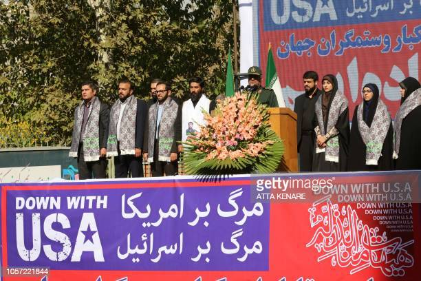 Iranian Revolutionary Guards commander Major General Mohammad Ali Jafari speaks during a demonstration outside the former US embassy in the Iranian...