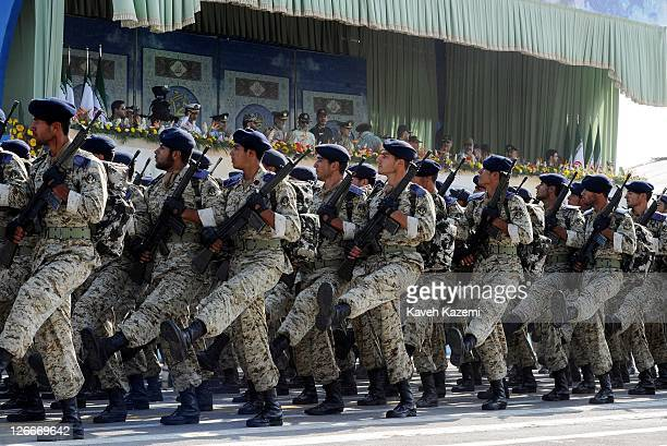 Iranian Revolutionary Guards march during a parade commemorating the 31st anniversary of Iran-Iraq war on September 22, 2011 in Tehran, Iran. Iran is...