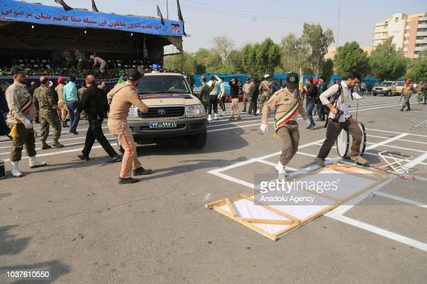 Iranian security forces take security measures after an armed attack targeting a military march in the southwestern Iranian city of Ahwaz on...