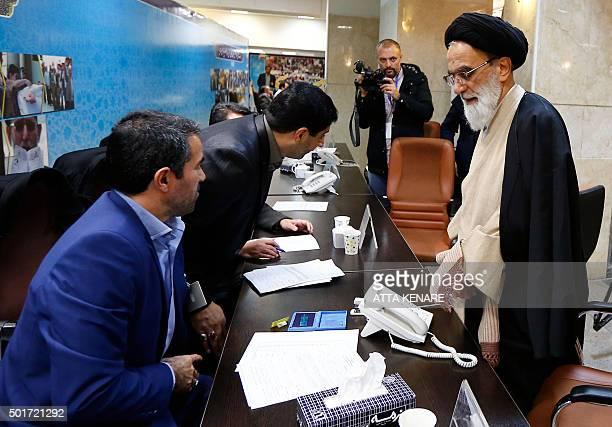 Iranian Seyed Mohsen Moussavi registers his candidacy for the Assembly of Experts elections at the interior ministry in Tehran on December 17 2015...