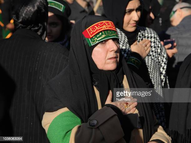 Iranian Shiite Muslim mourners take part in a Muharram procession in Toronto Ontario Canada on October 12 2016 Hundreds of Shiite Muslims took to the...