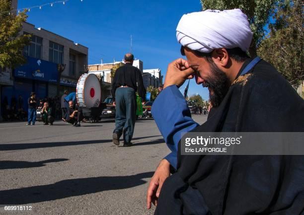 Iranian Shiite muslim mullah crying during Ashura the day of the death of Imam Hussein on October 24 2015 in Bijar Kurdistan Province Iran