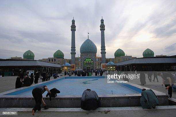 Iranian Shiites pray and wait for the return of the 12th Imam or Mahdi at the Jamkaran Mosque east of the holy city of Qom on December 6 2005 in...