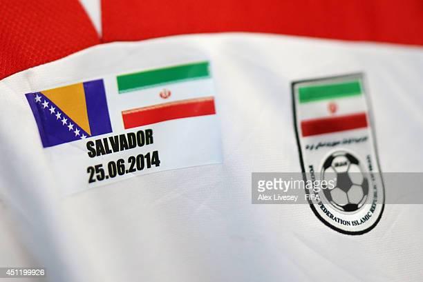 Iranian shirt detail taken prior to the 2014 FIFA World Cup Brazil Group F match between BosniaHerzegovina and Iran at Arena Fonte Nova on June 25...