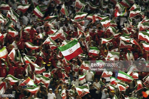 Iranian soccer fans gather for the Asian FIFA World Cup qualifying match between Iran and Bahrain at the Azadi Stadium on June 8 2005 in Tehran Iran...