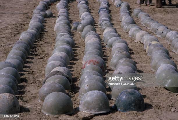 Iranian Soldiers Helmets During The Iran Iraq War, February 28, 1984.