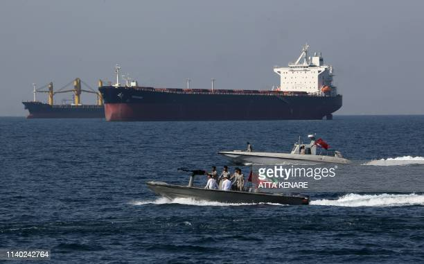 "Iranian soldiers take part in the ""National Persian Gulf day"" in the Strait of Hormuz, on April 30, 2019. - The date coincides with the anniversary..."