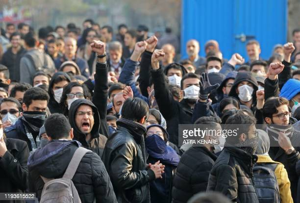 Iranian students gather for a demonstration over the downing of a Ukrainian airliner at Tehran University on January 14 2020 AFP correspondents said...